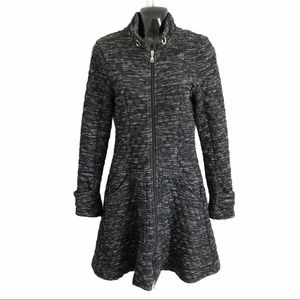 LUC FONTAINE quilted spring coat charcoal grey